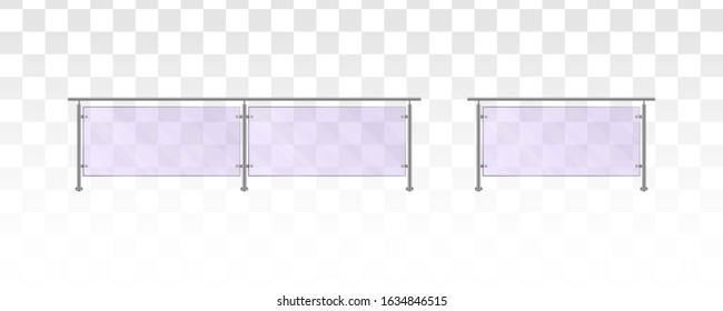 Glass railing on a white background. Section of glass fences with metal tubular railing and transparent sheets for home stairways, house balcony, sidewalk fencing. Vector illustration. EPS 10.