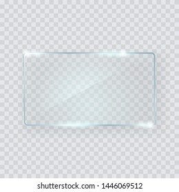 Glass rectangle banner. Great design for any purposes. Vector rectangle frame. Copy Space background. Graphic element. Empty glass background. Design template.