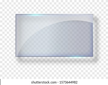 Glass rectangle banner. Great design for any purposes. Vector rectangle frame. Empty glass background. Design template.