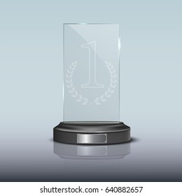Glass rectangle winner podium plate with mirror reflection. Vector illustration.