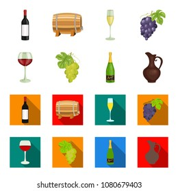 A glass of red wine, champagne, a jug of wine, a bunch. Wine production set collection icons in cartoon,flat style vector symbol stock illustration web.