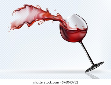 A glass of red wine splashing in the fall. Realistic vector image.