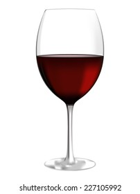 Glass of red wine - vector drawing