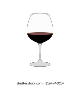 Glass of red wine. Vector illustration.