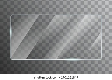 Glass with reflection effect in mockup vector. Acrylic and glass texture with glare. realistic mirror on transparent. window frame with glossy lights effect.