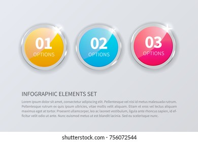 Glass round numbers set isolated on gray background. Realistic vector illustration for infograpic. Abstract illustration for workflow layout, diagram, number options, web design.