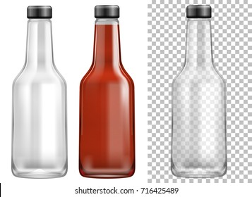 Glass sauce ketchup bottles with transparent effect