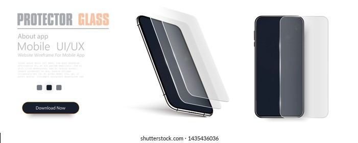 Glass screen protector or glass cover. Vector illustration of transparent tempered glass shield for mobile phone. Realistic black smartphone.