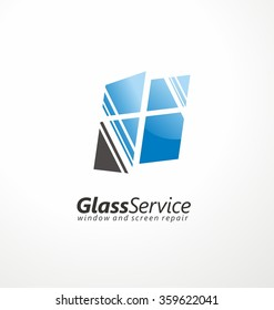 Glass service symbol layout. Windows and screens repair creative logo design concept.