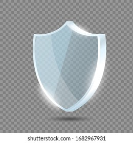 Glass shield. Blue acrylic security shield or plexiglass plate with gleams and light reflections. Concept of award trophy or safety on transparent background. Vector illustration.