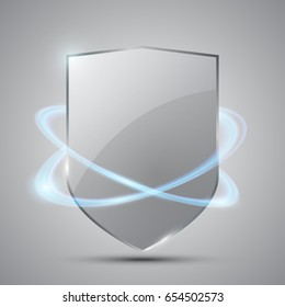 Glass shield with blue glow in motion on grey background, vector illustration