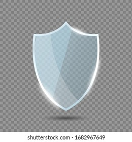 Glass shield in front view. Blue acrylic security shield or plexiglass plate with gleams and light reflections. Concept of award trophy or safety on transparent background. Vector illustration.