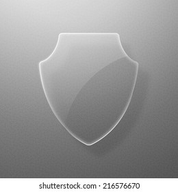 Glass shield on a gray background. Vector illustration eps10