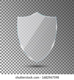 Glass shield on transparent background. Acrylic security shield or plexiglass plate with gleams and light reflections. Concept of award trophy or safety. Vector illustration.