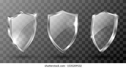 Glass shield realistic vector illustration. Blank transparent white acrylic glass panel with metal frame, award trophy or certificate template, front side view isolated on checkered background