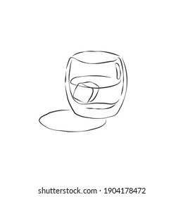 Glass shot whiskey with ice cube. Contour drawing of drink. Retro wineglass hand draw, design for any purposes. Restaurant illustration. Simple sketch. Isolated on white backdrop in engraving style.