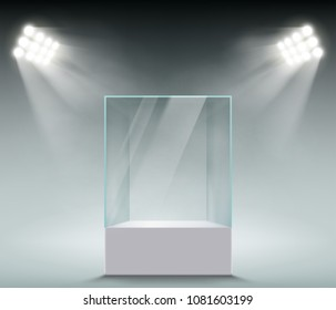 Glass showcase for the exhibition in the form of a cube. Background for sale is illuminated with spotlights. Stock vector illustration.