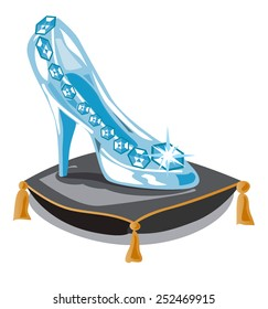 Glass slipper on black pillow. Fashion background. Vector illustration. Beauty design element. Luxury shoes.