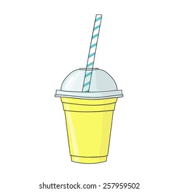 Glass with smoothie. Natural bio drink, healthy organic food. Hand drawn vector illustration in doodle style isolated on white background.