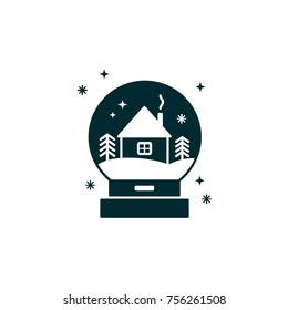 Glass snow ball with house and winter landscape. Snow globe black silhouette - Christmas decoration or gift. Waterglobe in material design- transparent sphere, New Year giveaway or souvenir.