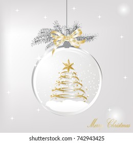 Glass snowglobe with bow and christmas tree