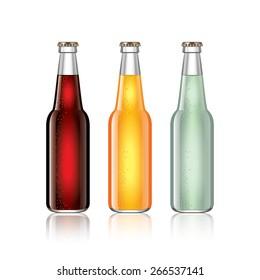 Glass soda bottles isolated on white photo-realistic vector illustration