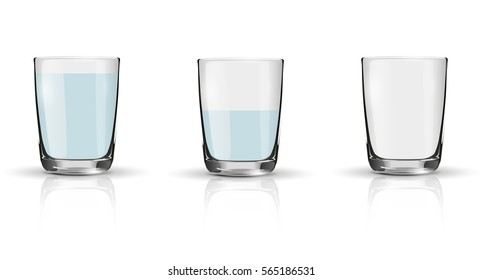 Glass of sparkling water, half full glass and empty glass. Illustration isolated on white