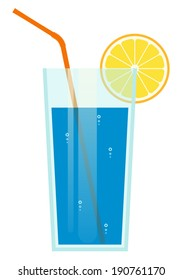 Glass with sparkling water, slice of orange and red straw. Vector graphics.