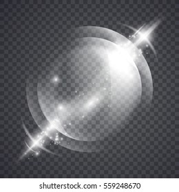 Glass sphere of glowing lights effects isolated on transparent background, abstract magic Illustration