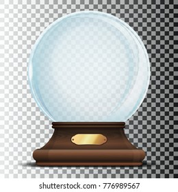 Glass sphere on an elegant wooden stand with gold sign. Christmas empty snow globe isolated on a transparent background. Glass dome with glares. Xmas design element. Vector illustration