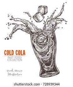 Glass with splashed cola and ice cube, hand drawn sketch in old engraving style. Fast food drink, lemonade or water. Monochrome image for menu, advertising, banners. Vector illustration on white
