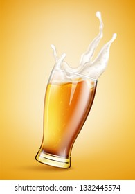 Glass with splashing beer
