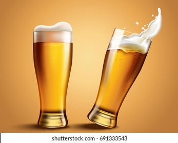 Glass with splashing beer, attractive beer mockup in 3d template