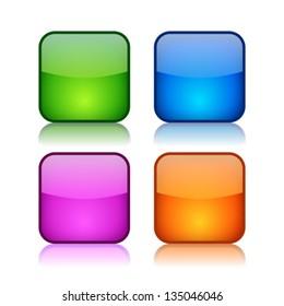 Glass square navigation buttons, vector clip art