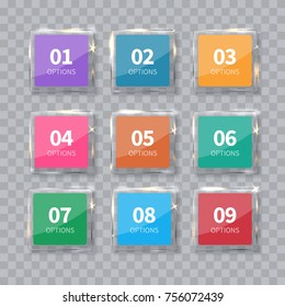 Glass squares numbers set isolated on transparent background. Realistic vector illustration for infograpic, layout, diagram, number options, web design.