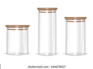 Glass storage jars different heights with airtight seal bamboo lids, vector mock-up set. Clear empty food canisters isolated on white background, realistic illustration.