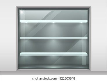 Glass storefront with shelves for products. Glass with transparency effect. Vector graphics