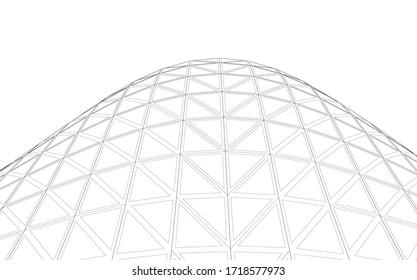 Glass structure, modern architecture concept 3d