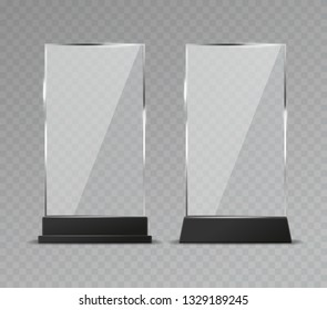 Glass table display. Office transparent glass table signs modern plastic clear stand reflection shiny plates vector isolated template