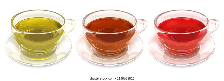 Glass tea cups. Set of cups of tea, strawberry, green, black. Vector illustration.