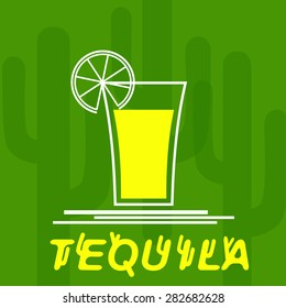 Glass of tequila with lemon. Cocktail party. Menu for restaurant, bar.