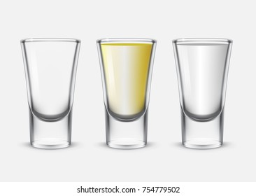 A glass with a tequila, a glass of vodka and an empty glass. Vector illustration.