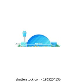 Glass terminal airport building and traffic control tower isolated facade exterior. Vector airplanes company construction, plane jet at airfield, skyline, parking zone. Passenger and cargo aircraft