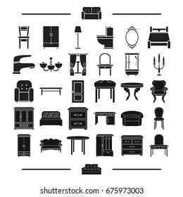 glass, textiles, plumbing and other web icon in black style.design, model, furniture, icons in set collection.