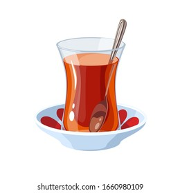 A glass of traditional Turkish tea with a teaspoon on a saucer. Vector illustration flat cartoon icon isolated on white.