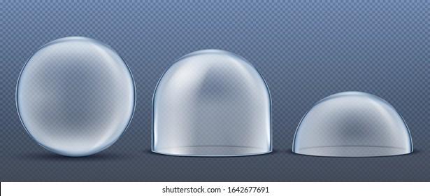Glass transparent Dome Set Vector.