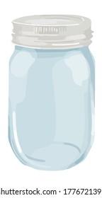 Glass transparent empty mason jar illustration vector element isolated on a white background