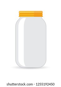 Glass transparent jar. Vector isolated illustration.