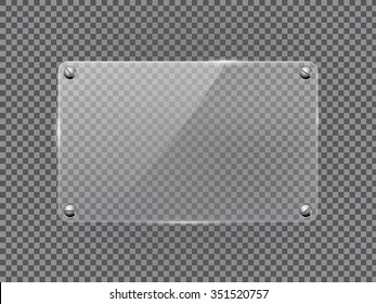 Glass transparent plate. Vector isolated on transparent background