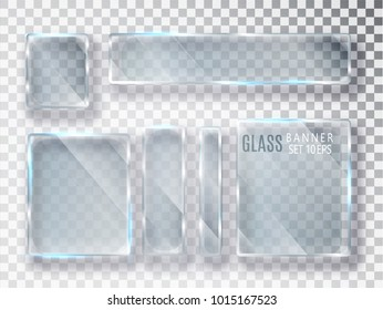 Glass transparent plates set. Vector glass modern banners isolated on transparent background. Flat glass. Realistic 3D design. Vector transparent object 10 eps